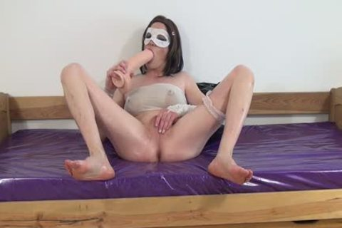 #3-Crossdresser pound Oiled ass With throbbing sextoy -butthole, Sissy