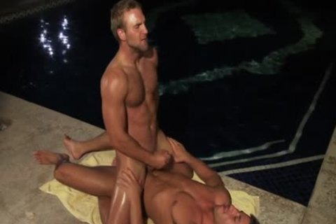 Muscled gay sex cream overspread