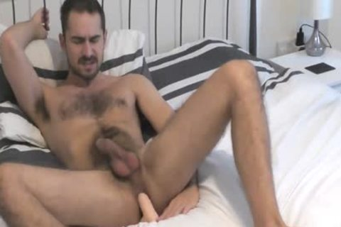 Bearded Hunk drills His ass And Cums On His hairy Abs