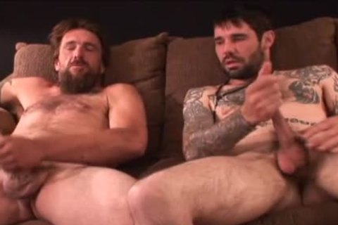 2 rough hairy Straight Redneck Stroking together