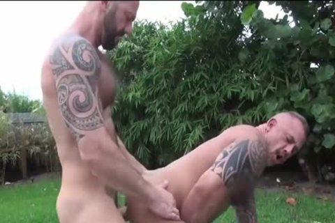 HubxDaddy powerful brawny Bear Sex By The Garden Pool