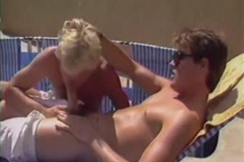Vintage bareback Poolside bang