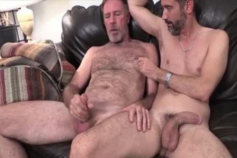 Two Dads hammering On The bed fucked