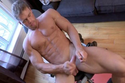 Philippe Lebrun Aka Brad Aka Kovi Lacroix - Works Out bare And Strokes His biggest meat