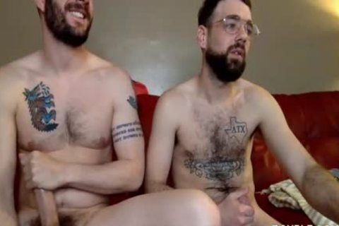 Two homosexual guys Have Steamy Sex On The Red Sofa