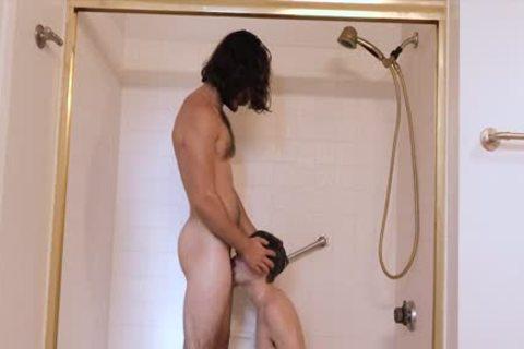 hairy lad bonks guy bare In The bathroom