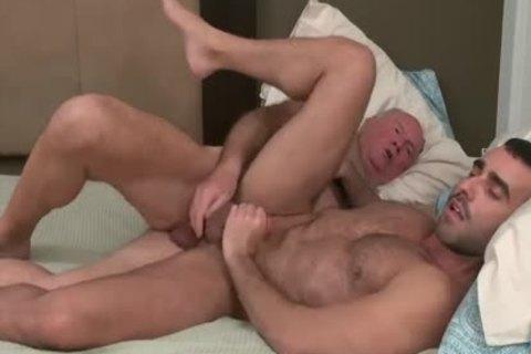 grandad Bear pounds A brawny juvenile guy