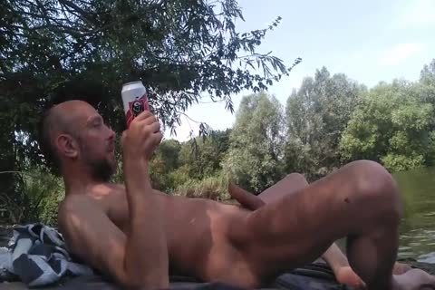 avid guy Masturbating Full naked Near A Public Canal