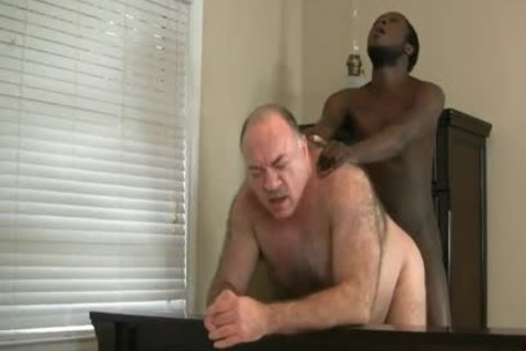 DADDY BEAR ENJOYS WITH black dick
