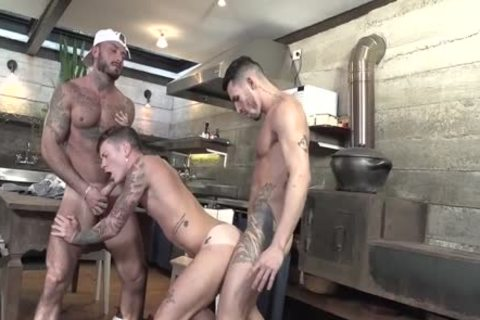 3some Latinos hammering In The Kitchen