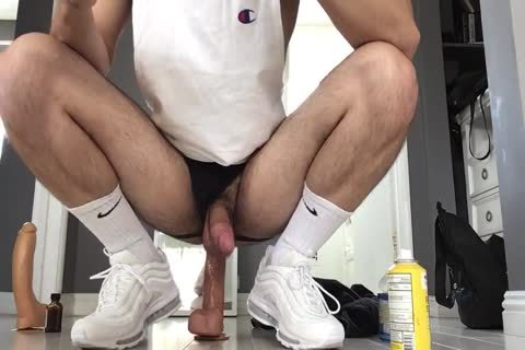 banging My Arab Otter hole With Two Monster Dildos Wearing White Gym Crew Socks