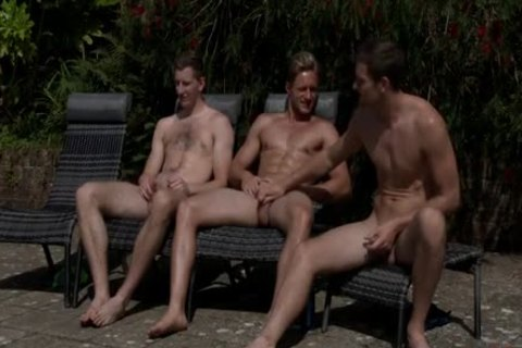 Three lad Jerking-off By The Swimmingpool