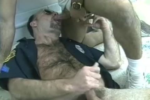 hirsute Cop's Furry Chest Is ejaculated On After Threeway engulf