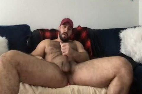 Beard Mascle Daddy Wanks Off large weenie And Cums A Lot