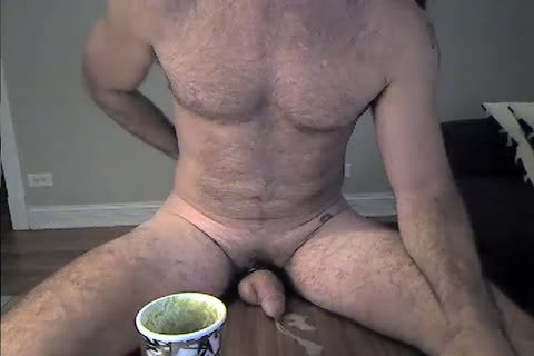 hairy Daddy Rides A vibrator And Cums two