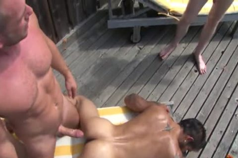 Poolside bare three-some