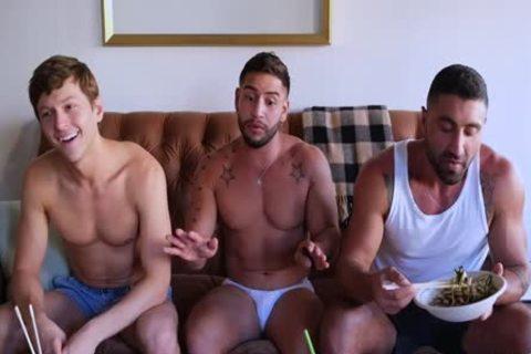 Three Muscled guys Having hammer pleasure