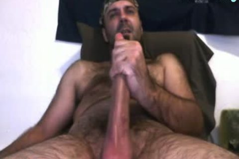 Daddy Bear jerking off His 10 Inches cock And Cumming