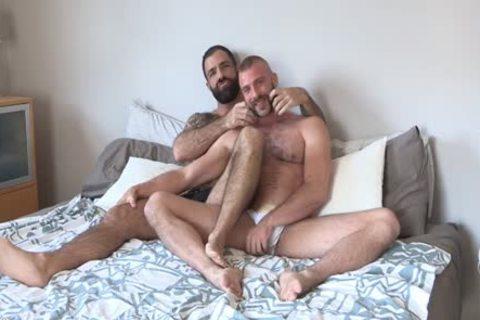 Two shaggy Bearded fellows Having tasty fun