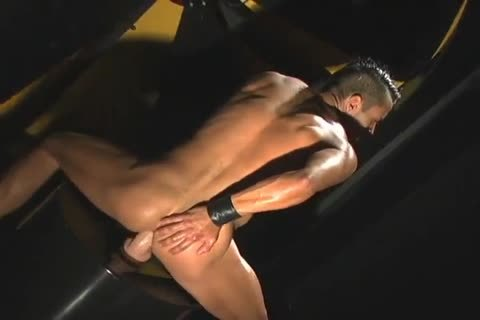lusty Latin guy In Leather Playing With A dildo