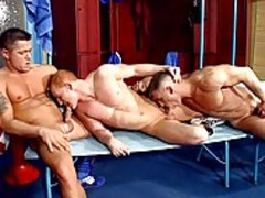 Three guys enjoy ass-copulation In The Gym