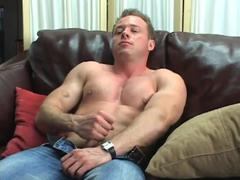 sleazy man beats of to homosexual porn video