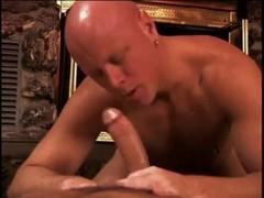 Bald brawny stud receives stunning anal slamming